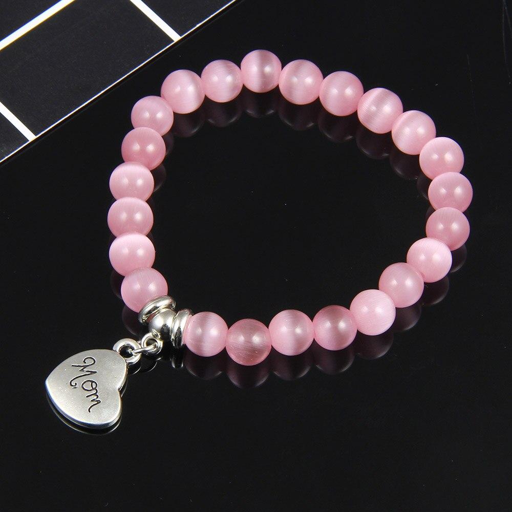 I Love You Mom Bead Bracelet Women 2019 New Jewelry for Mum Natural Stone Charm Bracelet Mother's Day Gift Family Bless Bracelet 24