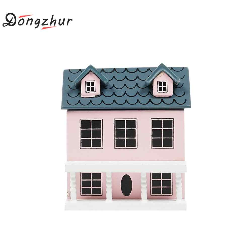 Dongzhur Little House Model Mini 1:12 Dollhouse Accessories For Doll Play Dollhouse Green Light Pink Top Lovely Villa Dropship