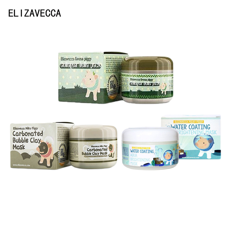 ELIZAVECCA Piggy Verde Máscara Facial Colágeno Jella Pacote/Leitoso Piggy Carbonatadas Bolha Máscara de Argila/Aqua Brightening Máscara