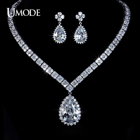 UMODE Four Leaf Clover Ultra Big Pear Cut Cubic Zirconia Drop Wedding Necklace and Earrings Set