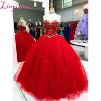 Modest Red Ball Gown Quinceanera Dresses Appliques Beaded Crystal Tulle Lace Up vestido de 15 anos Custom Sweet Sixteen Dresses