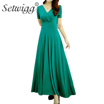 SETWIGG Womens Elegant Short Sleeved Fit and Flare Long Summer Dress Sexy V Neck Draped Pleated Ankle Long Flared SummerDress