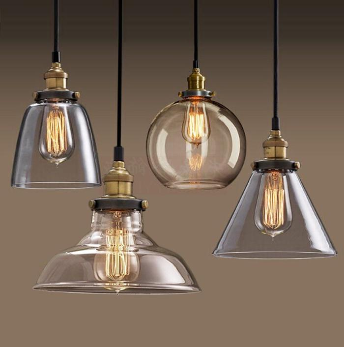 Retro industry glass pendant lights Industrial study living room bedroom bar lamp loft single head decorations lighting lamps ZA european style retro glass chandelier north village industrial study the living room bedroom living rough bar lamp loft