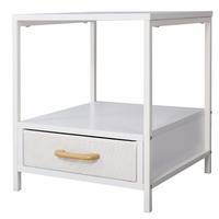 Lifewit 2-tier Modern Square Side / End Table / Night Stand / Coffee Table, White (2-tier With Drawer)