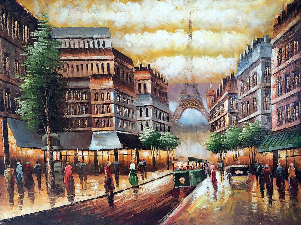 Modern Street Landscape Decorative Art Oil Painting Wall Painting on Canvas Buggy Ride Through Paris 100% Hand Painted Artwork