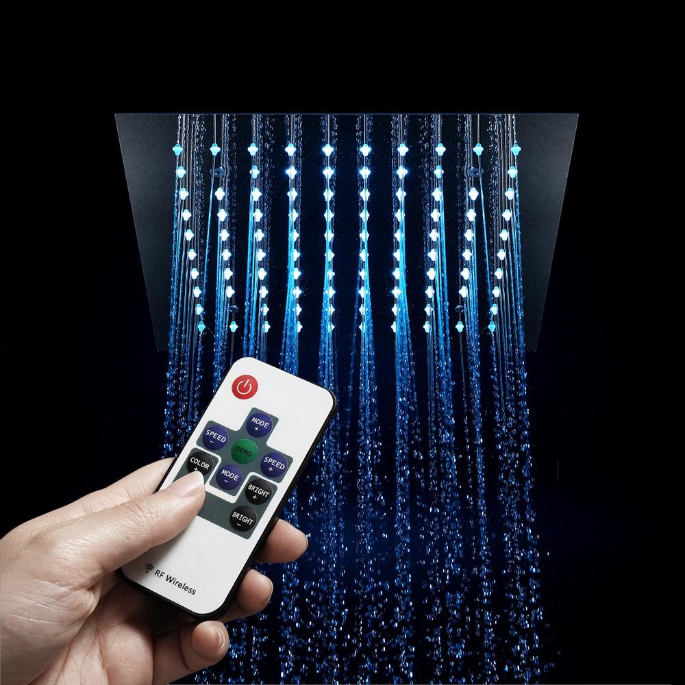 HIDEEP salle de bains douche lumière LED télécommandée LED pomme de douche intégré plafond monté douche 300mm pluie pomme de douche