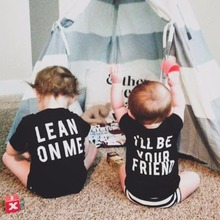 Summer Kids Short Sleeve Tee Baby Boy Black Shirt Girl I Am Be Your Friend Letter Printed Tops Brothers 2 To 6 Years