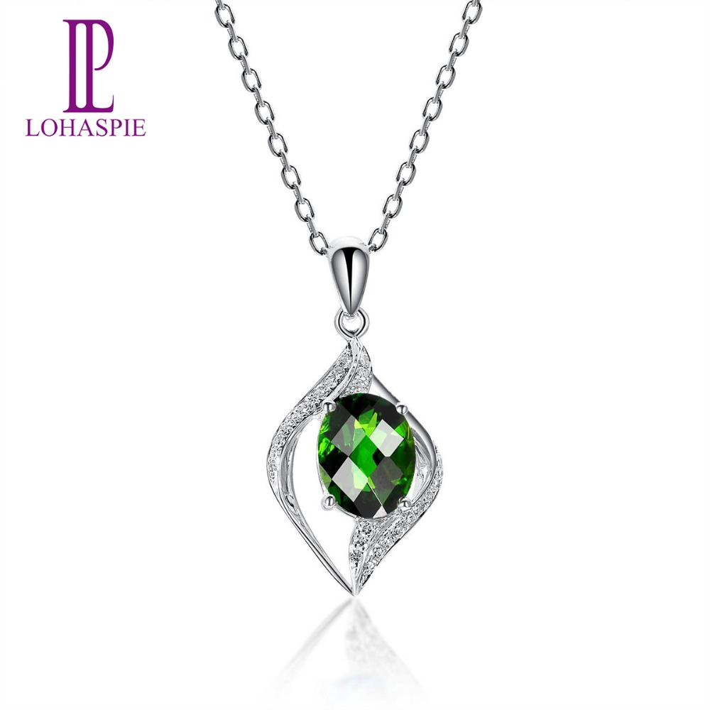 Lohaspie Stone Jewelry Solid 14K White Gold 1.98ct Real Chrome Diopside Gemstone Pendant For Women Fine Fashion Diamond-JewelryLohaspie Stone Jewelry Solid 14K White Gold 1.98ct Real Chrome Diopside Gemstone Pendant For Women Fine Fashion Diamond-Jewelry