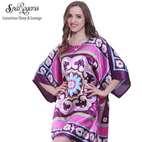 2016 Large Bath Robe Longue Summer Style Faux Silk Of Ladies Sleepshirt Women Nightgowns Home Clothing