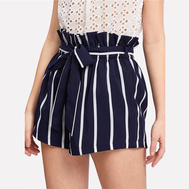 HTB1PRrOflLN8KJjSZFpq6zZaVXar - Belted Ruffle Waist Striped Shorts Women PTC 342