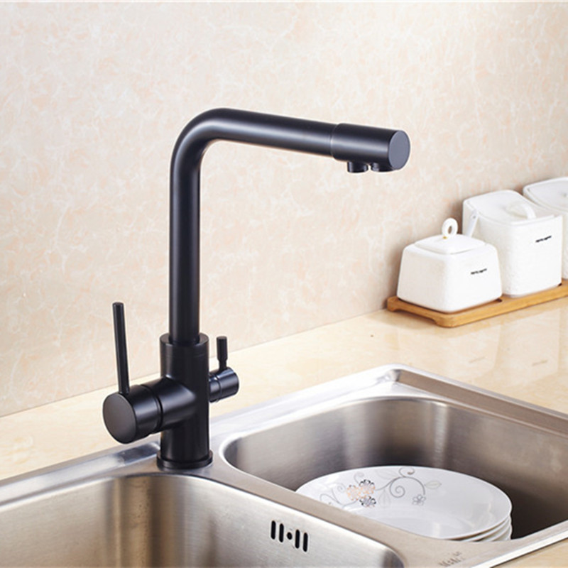Black Kitchen Faucet Home Depot Canada Faucets 3 In 1 Filtered Water Hot Cold Filter Way Tap Triflow