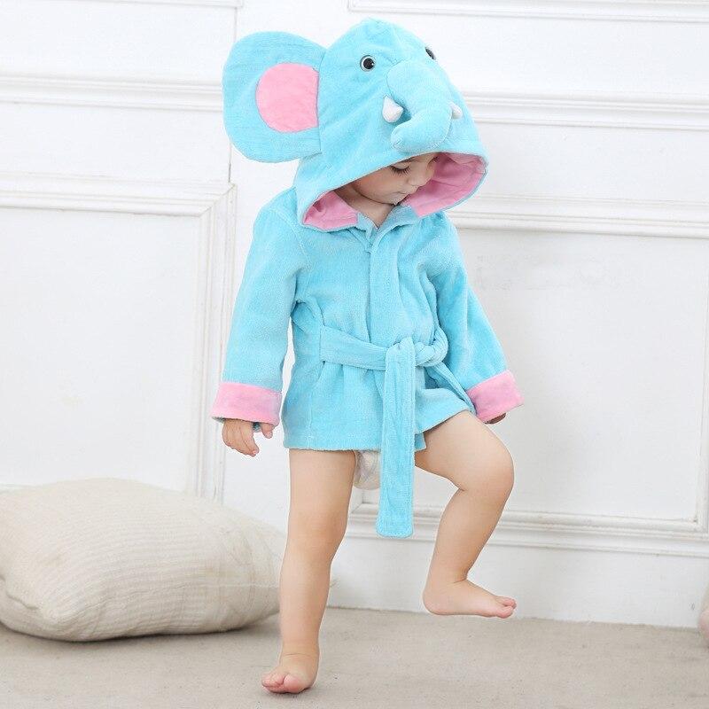 Материал, обрезное бархатистое полотенце, детское полотенце с капюшоном, хлопковый Халат для мальчиков и девочек 0-2 лет - Цвет: Blue elephant