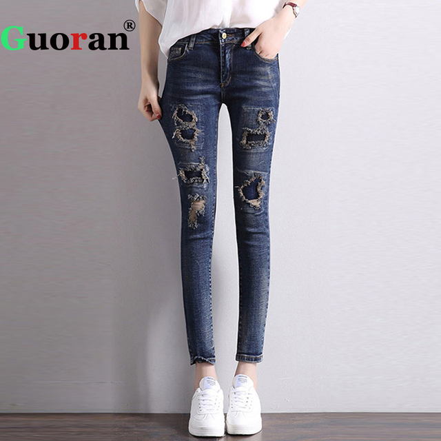 1a3b56a071a  Guoran  High Stretch Ripped Jeans Leggings Female Ankle Length Denim Blue  Jeans Pencil Pants Plus Size Femme Pantalon 2017