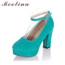 Meotina frauen schuhe klobigen high heels heels plattform dicken pumpen knoechelriemchen partei schuhe frauen schwarz orange große größe 9 10