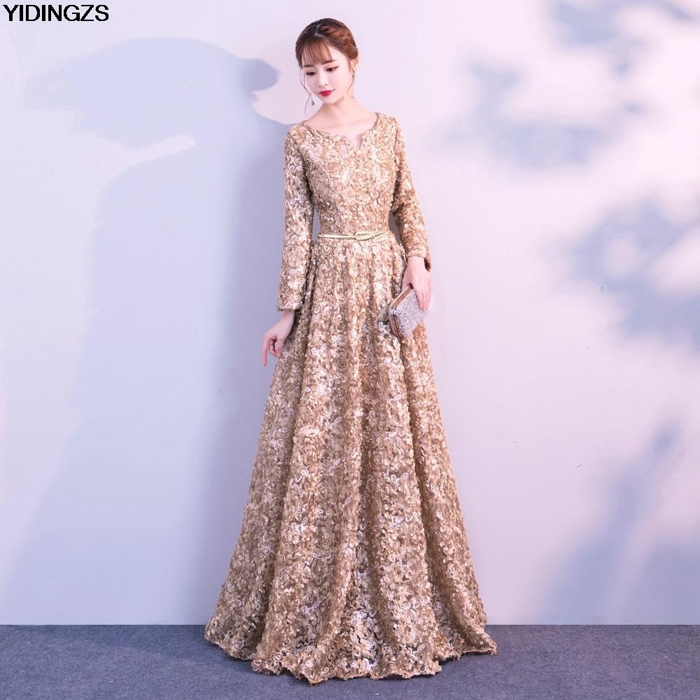 YIDINGZS color caqui elegante encaje vestido de noche Simple palabra ...