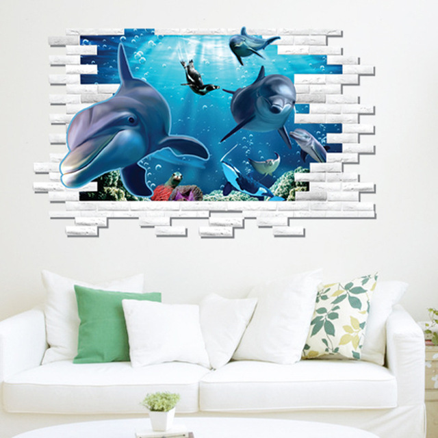 Unterwasserwelt Wandtattoo Aufkleber 3D Stereo Dolphin Wand Kunst Wandbild  Kinderzimmer Wand Applikation Poster Home Dekoration Tapete