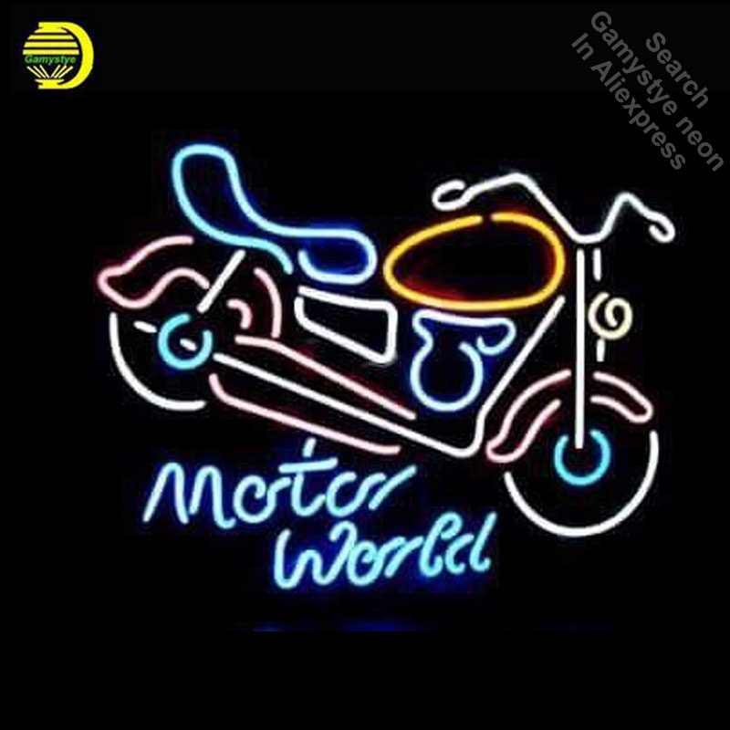 Neon Sign for Motorcycle Motor World Neon Bulb sign Business Display Handmade neon signboard Beer Bar Pub Light with metal frame image
