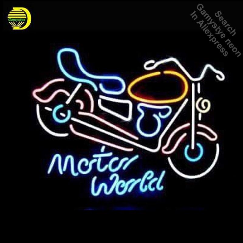 Néon Signe pour Moto Moteur Monde Ampoule Au Néon signe Affichage D'affaires À La Main néon enseigne Bière Bar Pub Lumière avec métal cadre