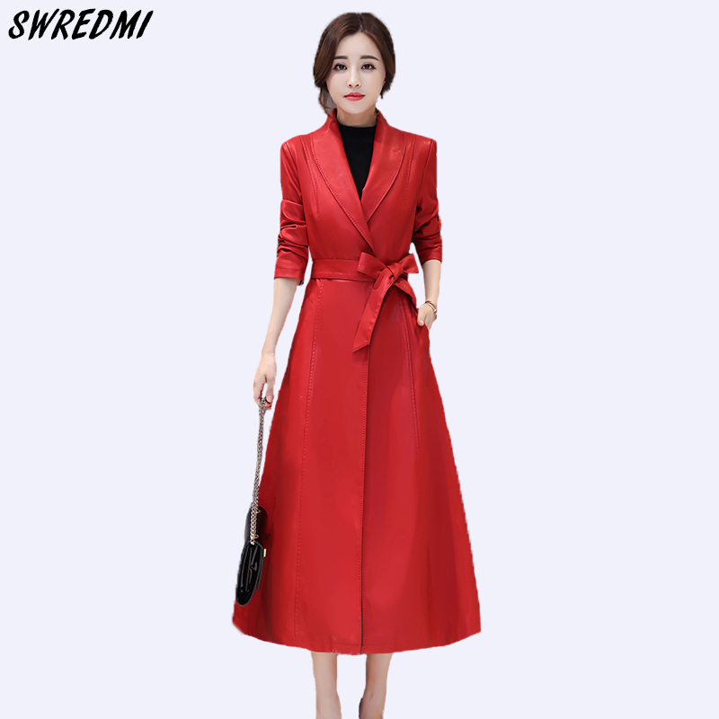 SWREDMI Autumn And Winter Women   Leather   Clothing Outwear Office Lady   Leather   Coats Sashes Slim Fashion   Leather   Trench Female