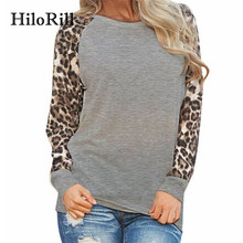 HiloRill 2018 Fashion Leopard T-shirt Women Long Sleeve Tops Casual O-Neck Patchwork Tees Shirt Femme Blusas Plus Size S-5XL(China)