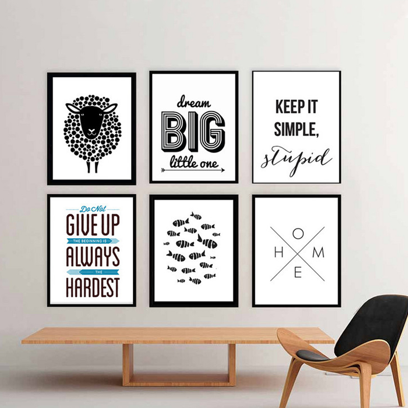 Modern Nordic Minimalist Black And White Canvas Painting Posters Prints Art Wall Pictures For