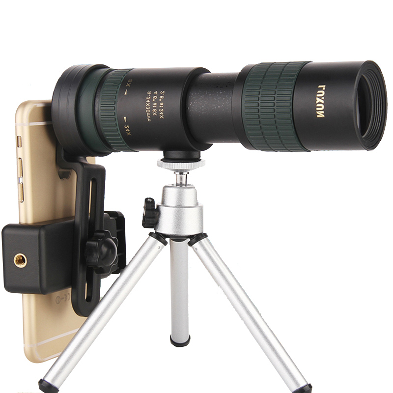8 24X30 Zoom Telescope Dual Focus Monocular Scopes BAK4 Prism Lens Smartphone Adapter Tripod for Bird