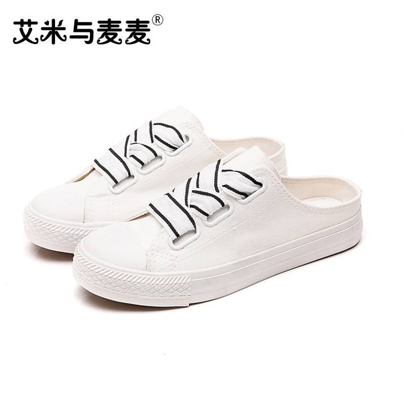 Fashion Summer Sneakers Womens Slippers 2018 Pink Black White Canvas Shoes Women Close Head Casual Flat Slipper Ladies