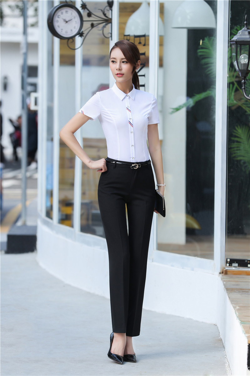 fbeb6d4fe21d White Summer Short Sleeve Formal Professional Pantsuits With Tops And Pants  Ladies Work Wear Female Trousers Sets Plus Size 3XL-in Pant Suits from  Women s ...
