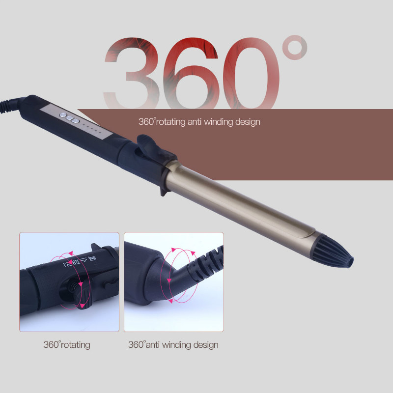 28mm Tourmaline Ceramic Hair Curling Iron Hair Curlers Curling Wand With 360 Degree Rotatable Clip Hair Curler Styling Tools 00