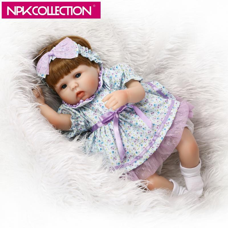 NPK 17 Inch Lifelike Baby Girl Reborn Doll  Soft Silicone Cotton Body Realistic Newborn Dolls Purple Flowery Pattern