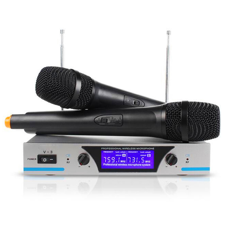 Finlemho Wireless Microphone Karaoke V 3 Dynamic Capsule 2 Channel UHF For Home Studio Audio Professional