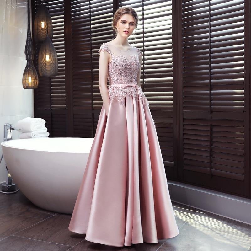 Holievery rose Satin longues robes de soirée avec poches dentelle Appliques robes de soirée longueur de plancher robes de soirée robe de soirée