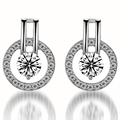 Women Jewelry Classic Earring Real  Rose Gold Plated Genuine Austrian Crystal Round Stud Earring