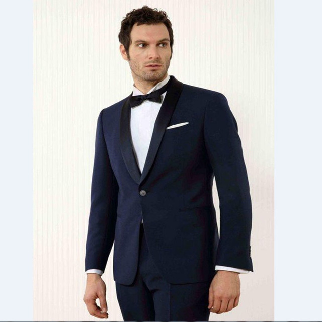 2018 Popular Spring Navy Blue Shawl Lapel One Button Groom Tuxedos Groomsmen Dinner Suits For Man Traje(Jacket+Pants+Tie)