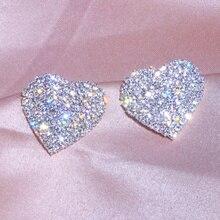 Дизайн, роскошные Кристальные серьги-гвоздики в форме сердца, серебряные серьги для женщин, Романтические свадебные ювелирные аксессуары