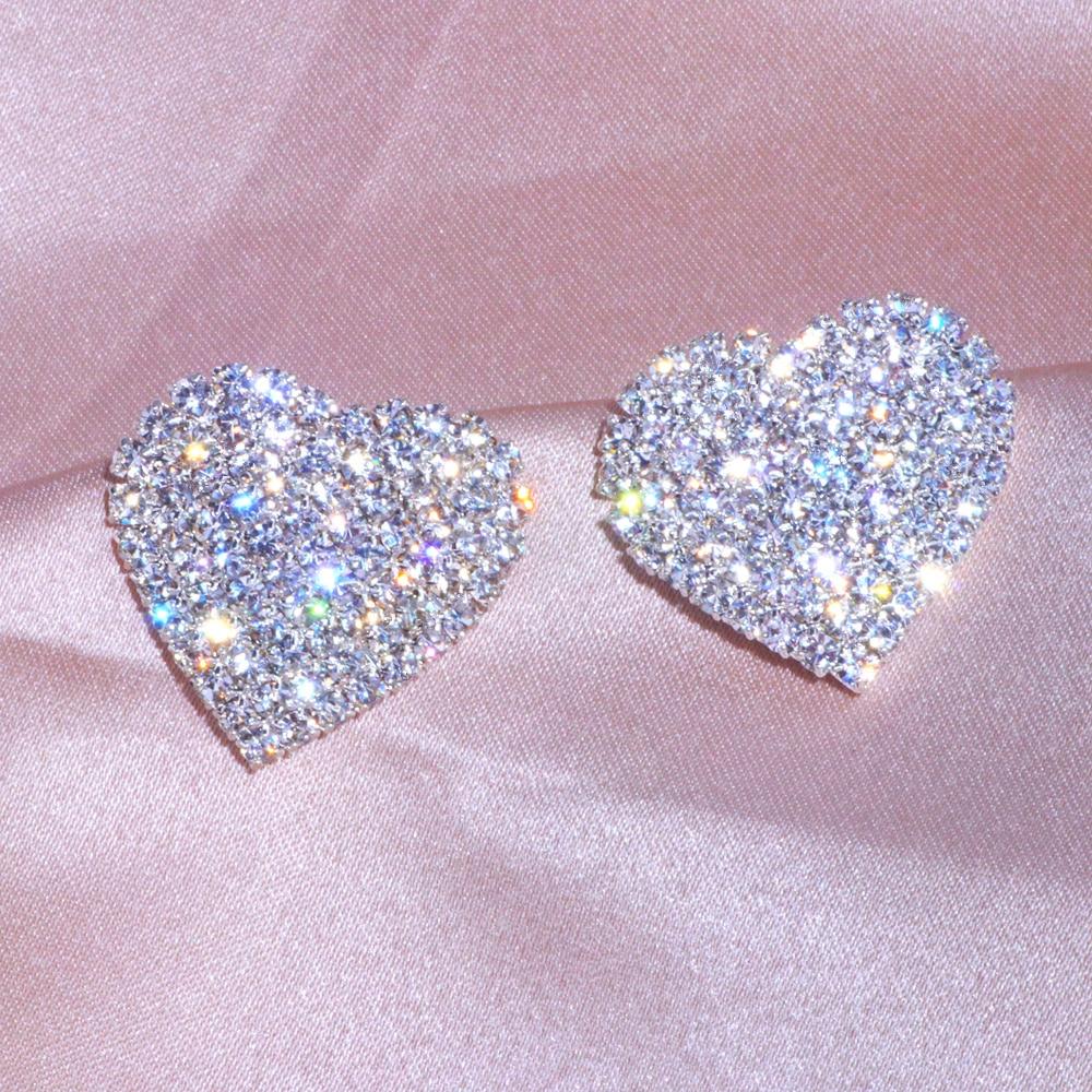 2020 New Design Luxury Crystal Heart Stud Earrings Fashion Big Love Earrings For Woman Romantic Wedding Jewelry Accessories