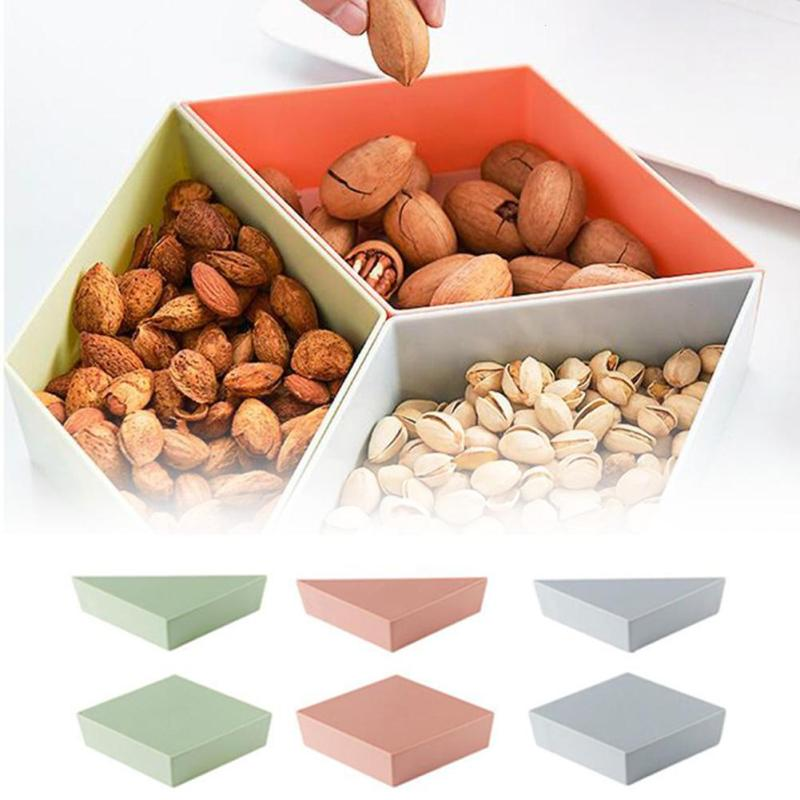 Double Layer Detachable Dried Fruit Storage Tray Snacks Storage Box Container Desktop Candy Fruit Storage Pallet Home Office 3