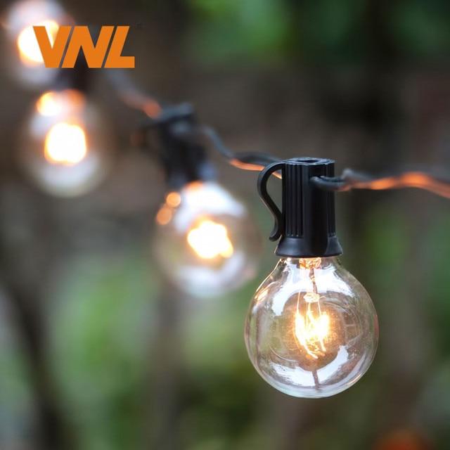 VNL 25Ft G40 Bulb Globe String Lights With Clear Bulb Backyard Patio Lights  Vintage Bulbs Decorative