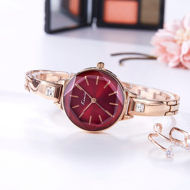 KIMIO Ladies Bracelet Watches For Women Fashion Red Dial Watch 2019 Top Brand Luxury Female Wristwatch Clock Relogio Feminino