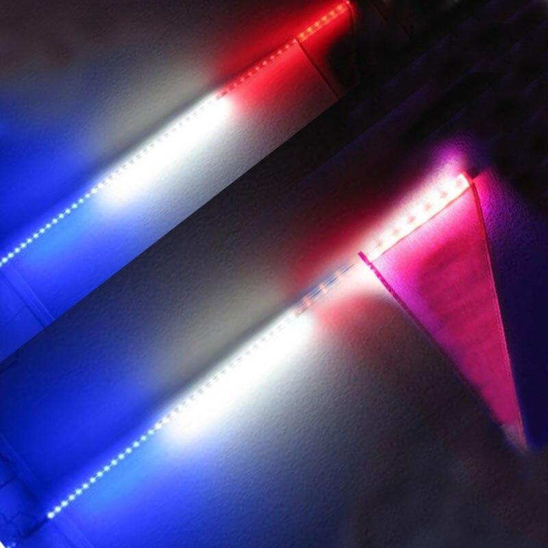 2Pcs 4 Feet Quick Release ATV UTV LED Light Whip with Flag Red Blue White