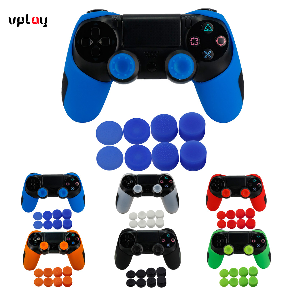лучшая цена YTTL Soft Silicone Rubber Case Cover Thicker Half Skin Cover for PS4 PS4 PRO PS 4 Slim Controller Gamepad with Thumb Grip X 8