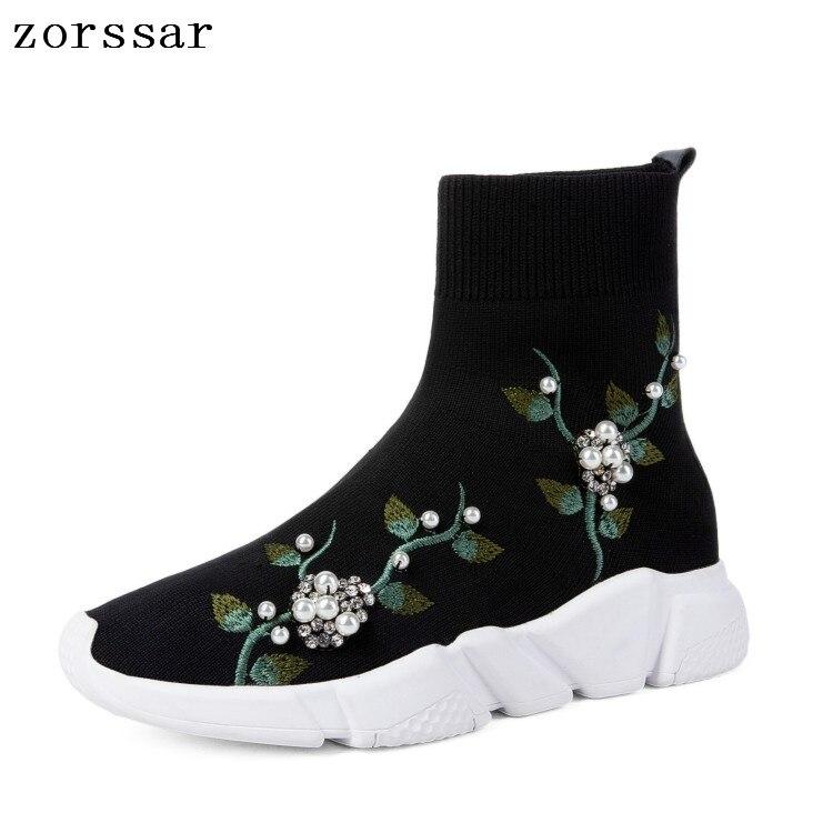 {Zorssar} 2019 New Popular Young Women Boots Fashion Pearl Casual Sneaker Womens Flat Ankle Stretch Socks Boots Big Size 34-44 недорго, оригинальная цена