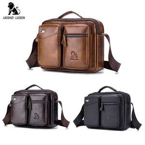 Image 4 - LAOSHIZI LUOSEN Messenger Tasche Männer Schulter Tasche Aus Echtem Leder Business Männlichen Umhängetaschen für Männer Kreuz Körper Tasche Handtaschen Neue