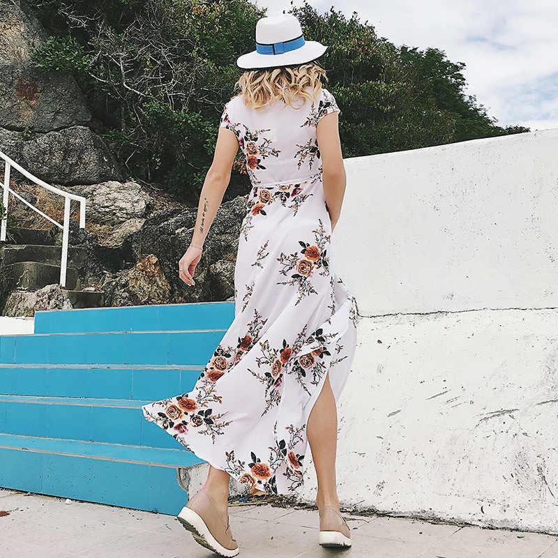 ชุดสตรีฤดูร้อน 2020 ใหม่แฟชั่นดอกไม้พิมพ์ V คอแขนสั้น Maxi ไม่สม่ำเสมอ Bohemian Vestidos HJY0326