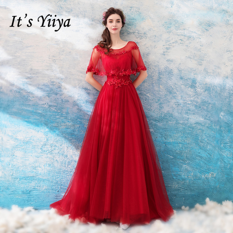 It's YiiYa   Evening     Dress   Crystal Beading Embroidery Wedding Formal   Dresses   Illusion O-neck Shawl Tulle Lace Up Party Gown E201