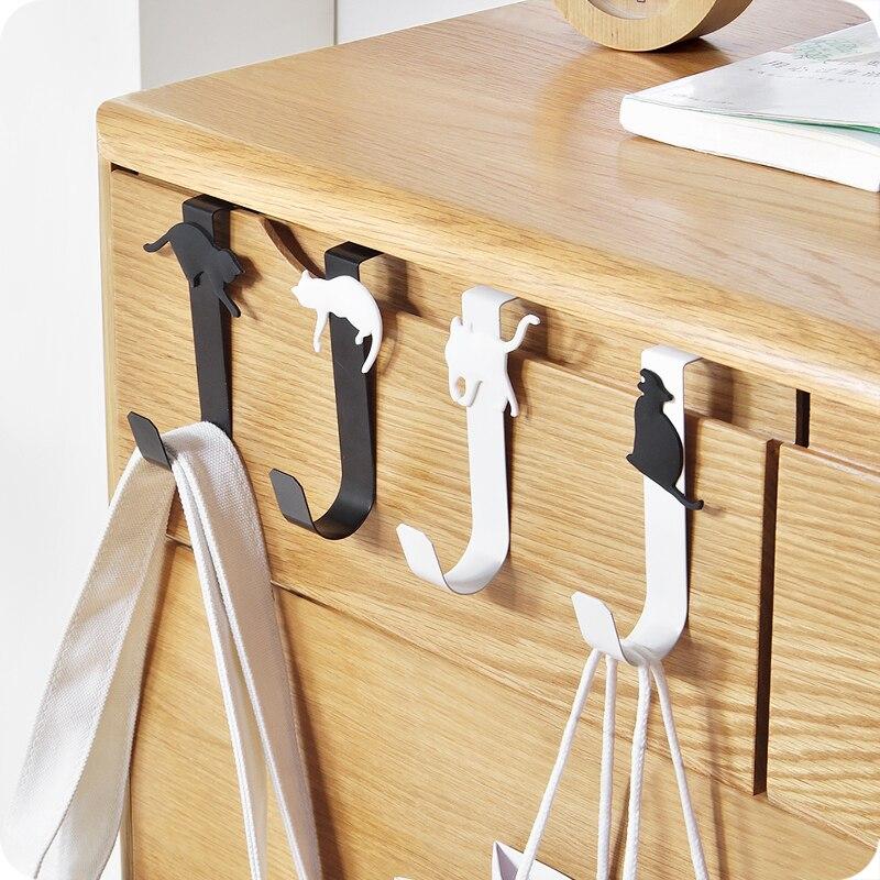 1pcs Cat Design Over Door Hook Clothes Bag Coat Hanger Key Holder Rack Kitchen Organier Home Decor