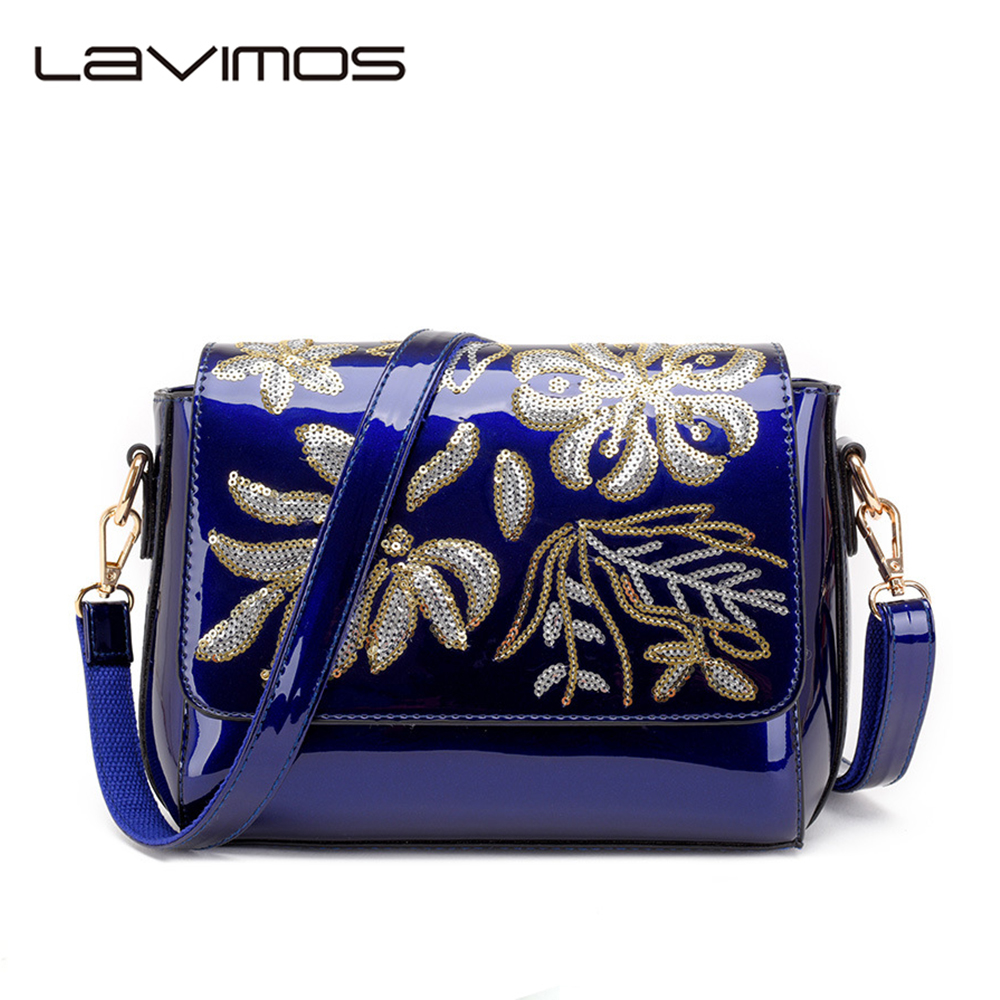 Vintage Patent Leather Bag Embroider Sequin Bag Tote Cross-Body Shoulder Handbag Fashion Ladies Clutch Bags Gifts For Women patent leather handbag shoulder bag for women