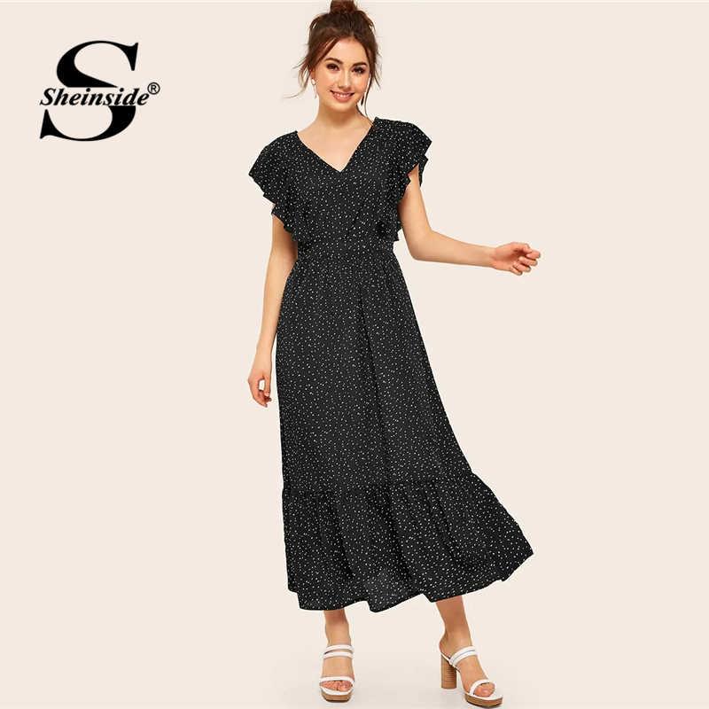 Sheinside платье в горошек с v-образным вырезом женское 2019 летнее кружевное платье с открытой спиной и высокой талией ТРАПЕЦИЕВИДНОЕ ПЛАТЬЕ Женское Платье макси с оборками