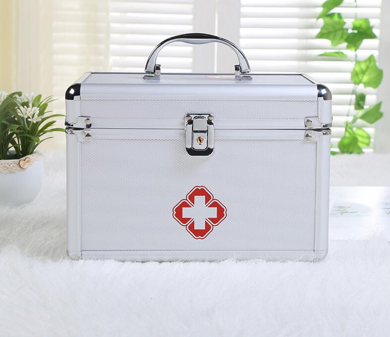 Aluminum alloy medical case Portable double-layer portable first aid kit custom outpatient medicine box... new gbj free shipping home aluminum medical cabinet multi layer medical treatment first aid kit medicine storage portable