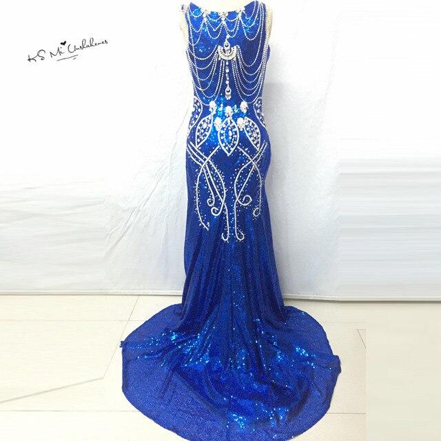 Robes Avec Soirée Sirène De Luxe Paillettes Cristaux Sparky Bleu BxTfaHwq